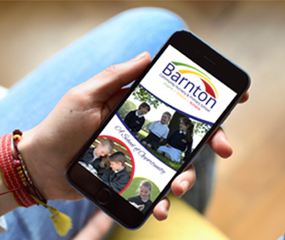 Barnton - A photograph of our school app on an iPhone